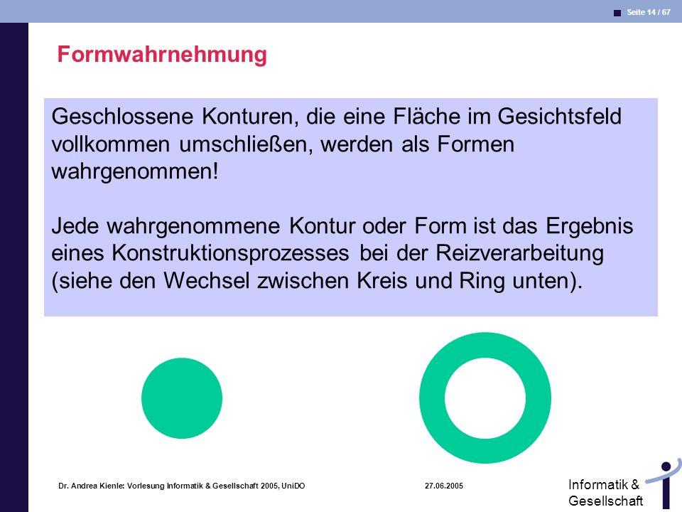 Seite 14 / 67 Informatik & Gesellschaft Dr. Andrea Kienle: Vorlesung Informatik & Gesellschaft 2005, UniDO 27.06.2005 Formwahrnehmung Geschlossene Kon