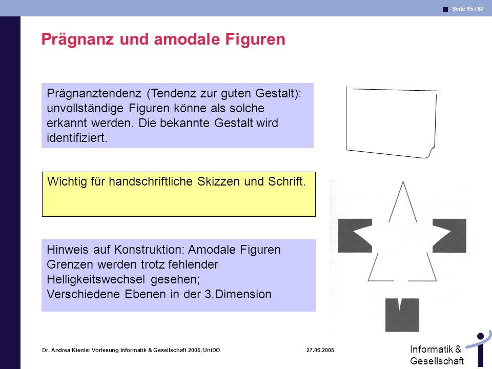 Seite 15 / 67 Informatik & Gesellschaft Dr. Andrea Kienle: Vorlesung Informatik & Gesellschaft 2005, UniDO 27.06.2005 Prägnanz und amodale Figuren Prä