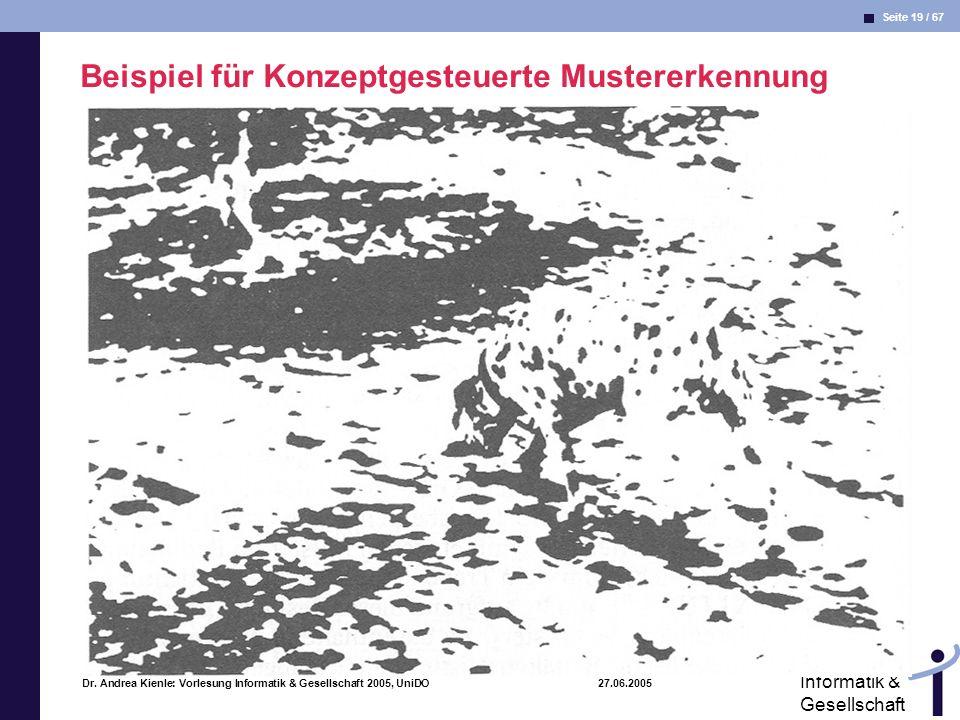 Seite 19 / 67 Informatik & Gesellschaft Dr. Andrea Kienle: Vorlesung Informatik & Gesellschaft 2005, UniDO 27.06.2005 Beispiel für Konzeptgesteuerte M