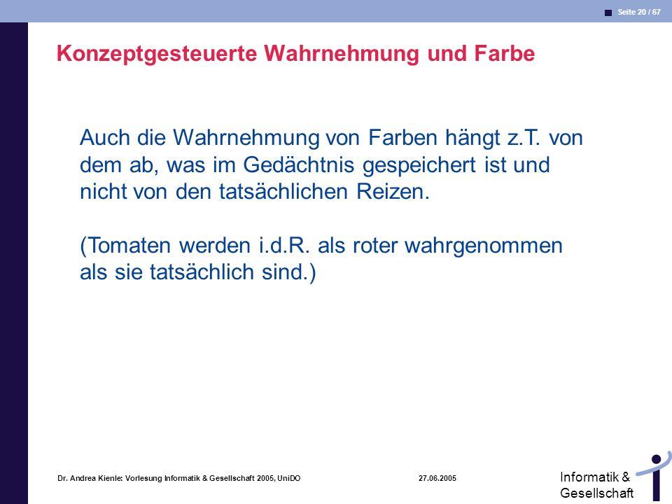 Seite 20 / 67 Informatik & Gesellschaft Dr. Andrea Kienle: Vorlesung Informatik & Gesellschaft 2005, UniDO 27.06.2005 Konzeptgesteuerte Wahrnehmung un