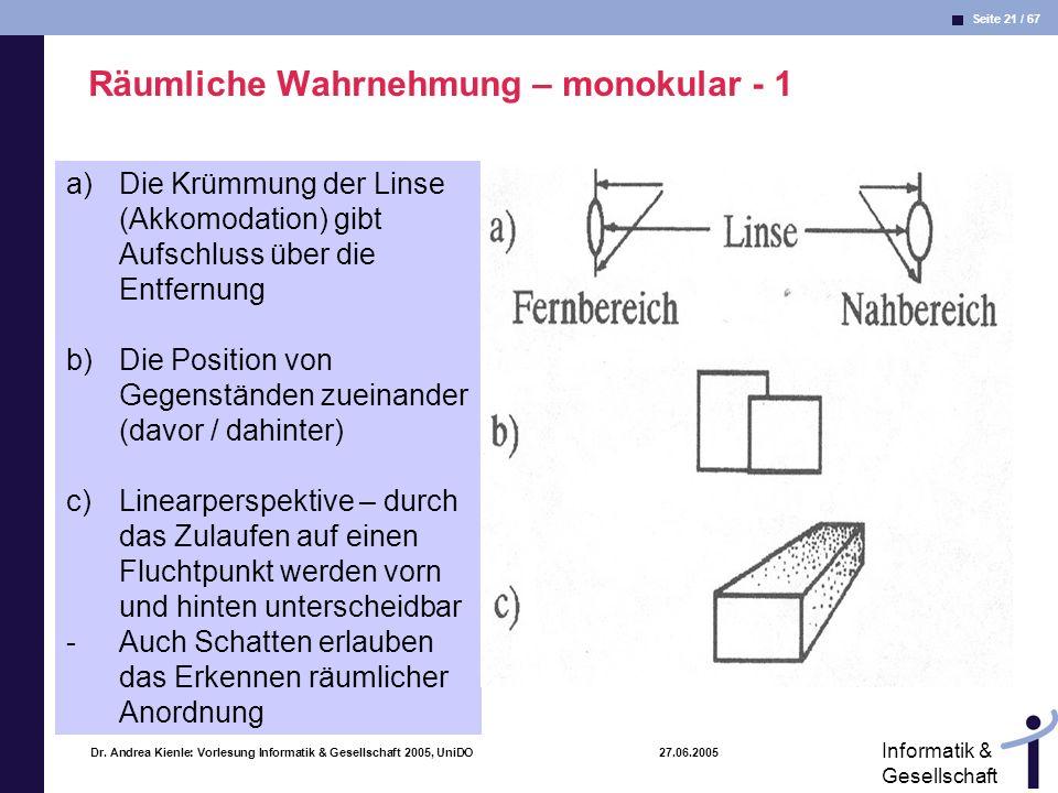 Seite 21 / 67 Informatik & Gesellschaft Dr. Andrea Kienle: Vorlesung Informatik & Gesellschaft 2005, UniDO 27.06.2005 Räumliche Wahrnehmung – monokula