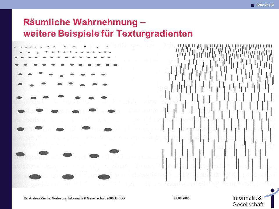 Seite 23 / 67 Informatik & Gesellschaft Dr. Andrea Kienle: Vorlesung Informatik & Gesellschaft 2005, UniDO 27.06.2005 Räumliche Wahrnehmung – weitere