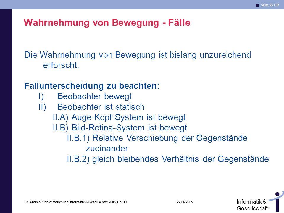 Seite 25 / 67 Informatik & Gesellschaft Dr. Andrea Kienle: Vorlesung Informatik & Gesellschaft 2005, UniDO 27.06.2005 Die Wahrnehmung von Bewegung ist