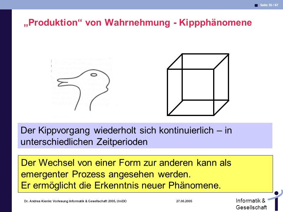 Seite 35 / 67 Informatik & Gesellschaft Dr. Andrea Kienle: Vorlesung Informatik & Gesellschaft 2005, UniDO 27.06.2005 Produktion von Wahrnehmung - Kip
