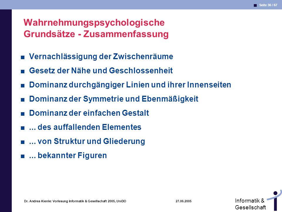 Seite 36 / 67 Informatik & Gesellschaft Dr. Andrea Kienle: Vorlesung Informatik & Gesellschaft 2005, UniDO 27.06.2005 Wahrnehmungspsychologische Grund