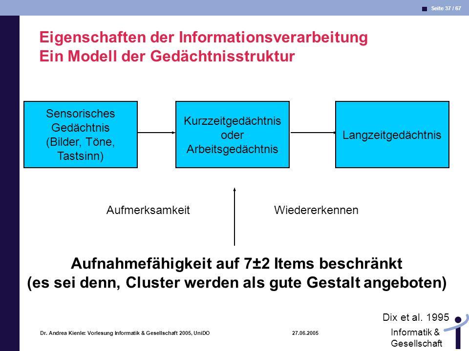 Seite 37 / 67 Informatik & Gesellschaft Dr. Andrea Kienle: Vorlesung Informatik & Gesellschaft 2005, UniDO 27.06.2005 Eigenschaften der Informationsve