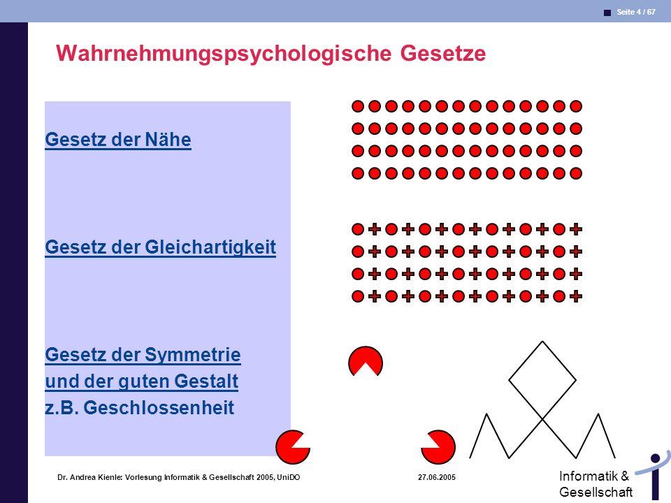 Seite 4 / 67 Informatik & Gesellschaft Dr. Andrea Kienle: Vorlesung Informatik & Gesellschaft 2005, UniDO 27.06.2005 Wahrnehmungspsychologische Gesetz
