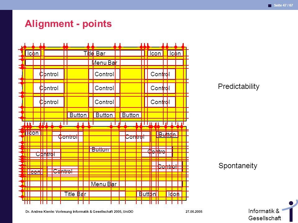 Seite 47 / 67 Informatik & Gesellschaft Dr. Andrea Kienle: Vorlesung Informatik & Gesellschaft 2005, UniDO 27.06.2005 Alignment - points IconTitle Bar
