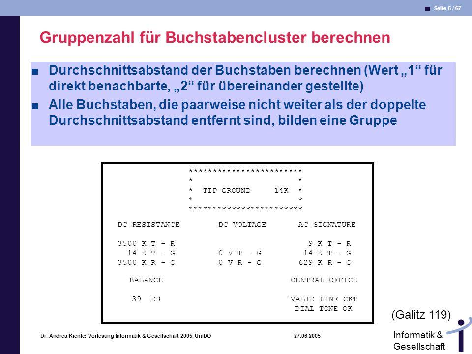 Seite 5 / 67 Informatik & Gesellschaft Dr. Andrea Kienle: Vorlesung Informatik & Gesellschaft 2005, UniDO 27.06.2005 Gruppenzahl für Buchstabencluster