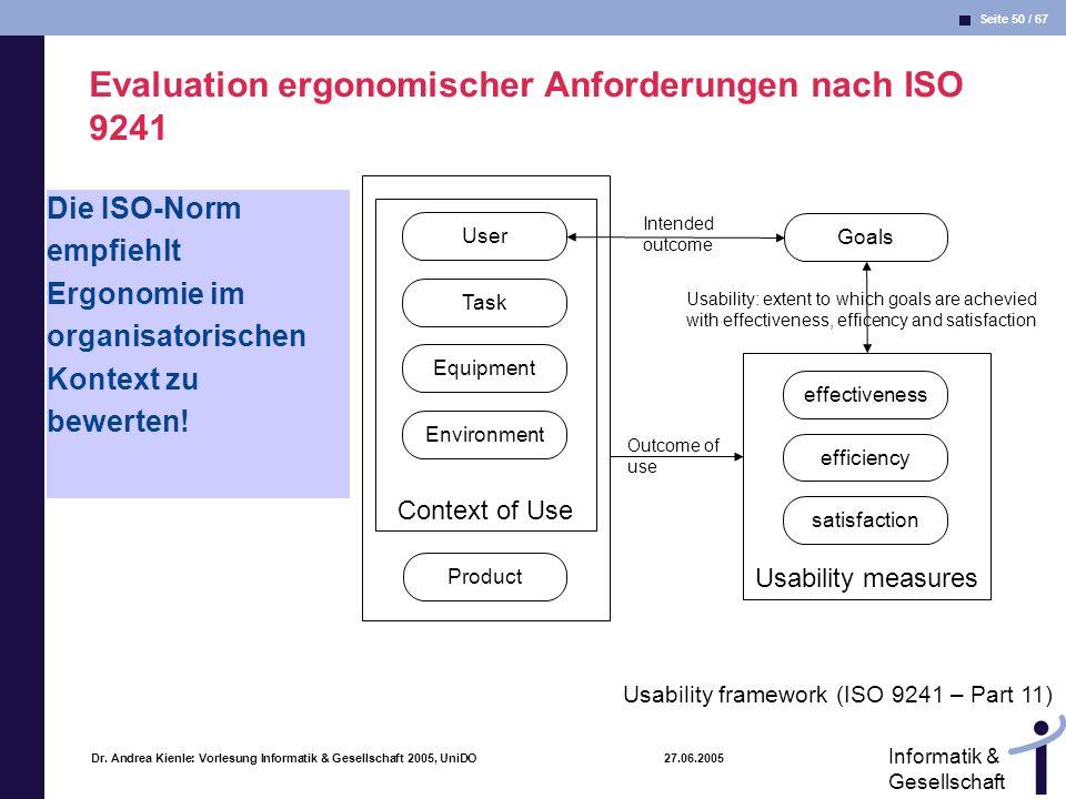 Seite 50 / 67 Informatik & Gesellschaft Dr. Andrea Kienle: Vorlesung Informatik & Gesellschaft 2005, UniDO 27.06.2005 Evaluation ergonomischer Anforde