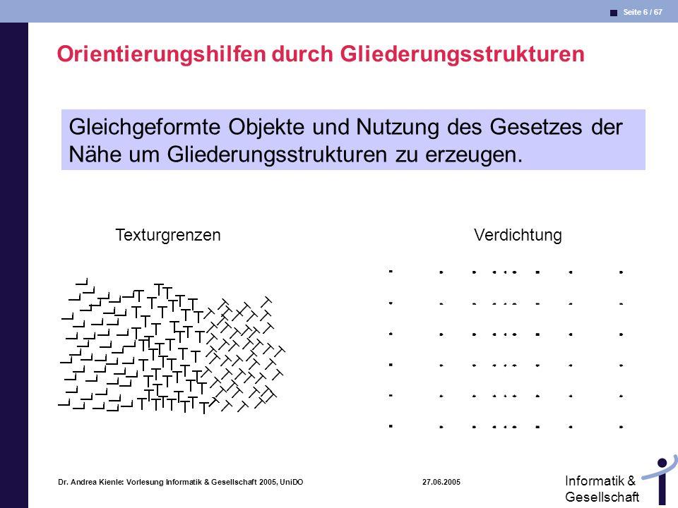 Seite 6 / 67 Informatik & Gesellschaft Dr. Andrea Kienle: Vorlesung Informatik & Gesellschaft 2005, UniDO 27.06.2005 Orientierungshilfen durch Glieder