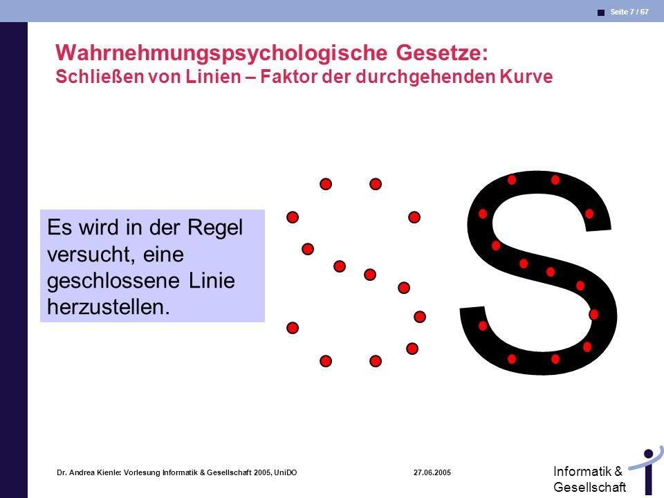 Seite 7 / 67 Informatik & Gesellschaft Dr. Andrea Kienle: Vorlesung Informatik & Gesellschaft 2005, UniDO 27.06.2005 Wahrnehmungspsychologische Gesetz