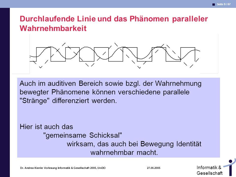 Seite 9 / 67 Informatik & Gesellschaft Dr. Andrea Kienle: Vorlesung Informatik & Gesellschaft 2005, UniDO 27.06.2005 Durchlaufende Linie und das Phäno