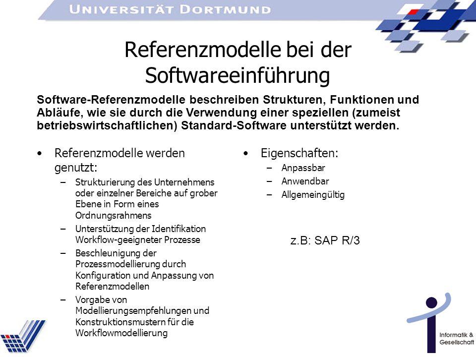 Referenzmodelle bei der Softwareeinführung Referenzmodelle werden genutzt: –Strukturierung des Unternehmens oder einzelner Bereiche auf grober Ebene in Form eines Ordnungsrahmens –Unterstützung der Identifikation Workflow-geeigneter Prozesse –Beschleunigung der Prozessmodellierung durch Konfiguration und Anpassung von Referenzmodellen –Vorgabe von Modellierungsempfehlungen und Konstruktionsmustern für die Workflowmodellierung Eigenschaften: –Anpassbar –Anwendbar –Allgemeingültig z.B: SAP R/3 Software-Referenzmodelle beschreiben Strukturen, Funktionen und Abläufe, wie sie durch die Verwendung einer speziellen (zumeist betriebswirtschaftlichen) Standard-Software unterstützt werden.