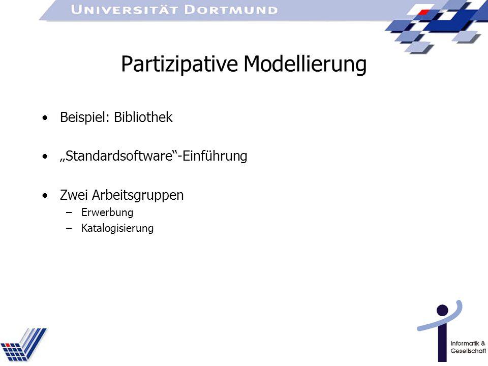 Partizipative Modellierung Beispiel: Bibliothek Standardsoftware-Einführung Zwei Arbeitsgruppen –Erwerbung –Katalogisierung