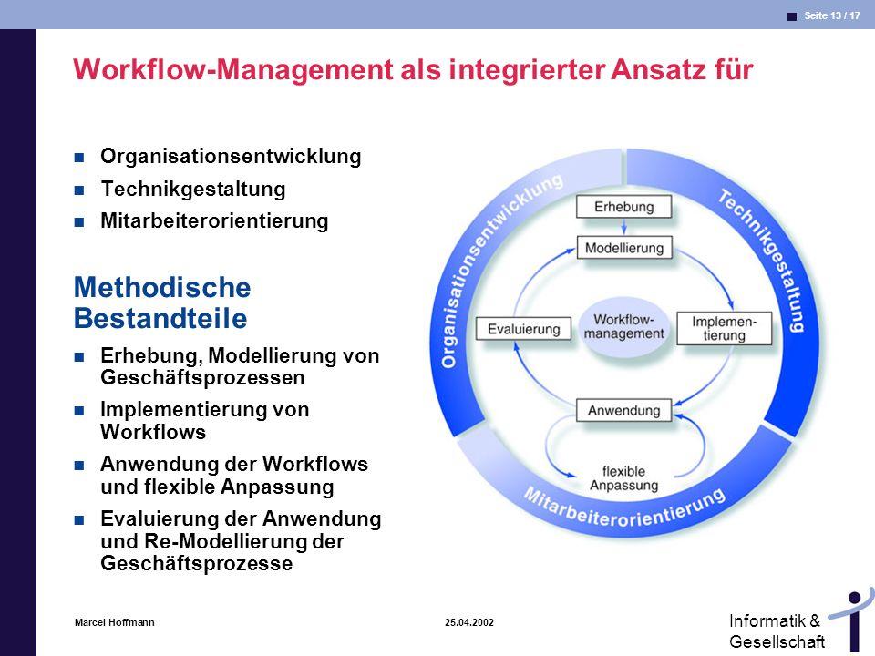 Seite 13 / 17 Informatik & Gesellschaft Marcel Hoffmann 25.04.2002 Workflow-Management als integrierter Ansatz für Organisationsentwicklung Technikges