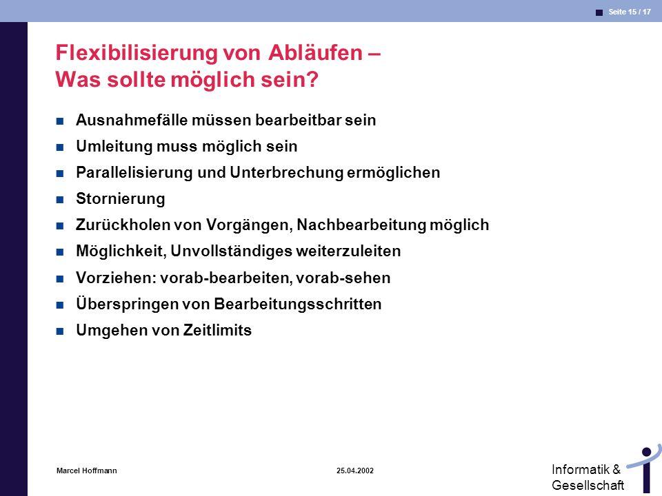 Seite 15 / 17 Informatik & Gesellschaft Marcel Hoffmann 25.04.2002 Flexibilisierung von Abläufen – Was sollte möglich sein? Ausnahmefälle müssen bearb