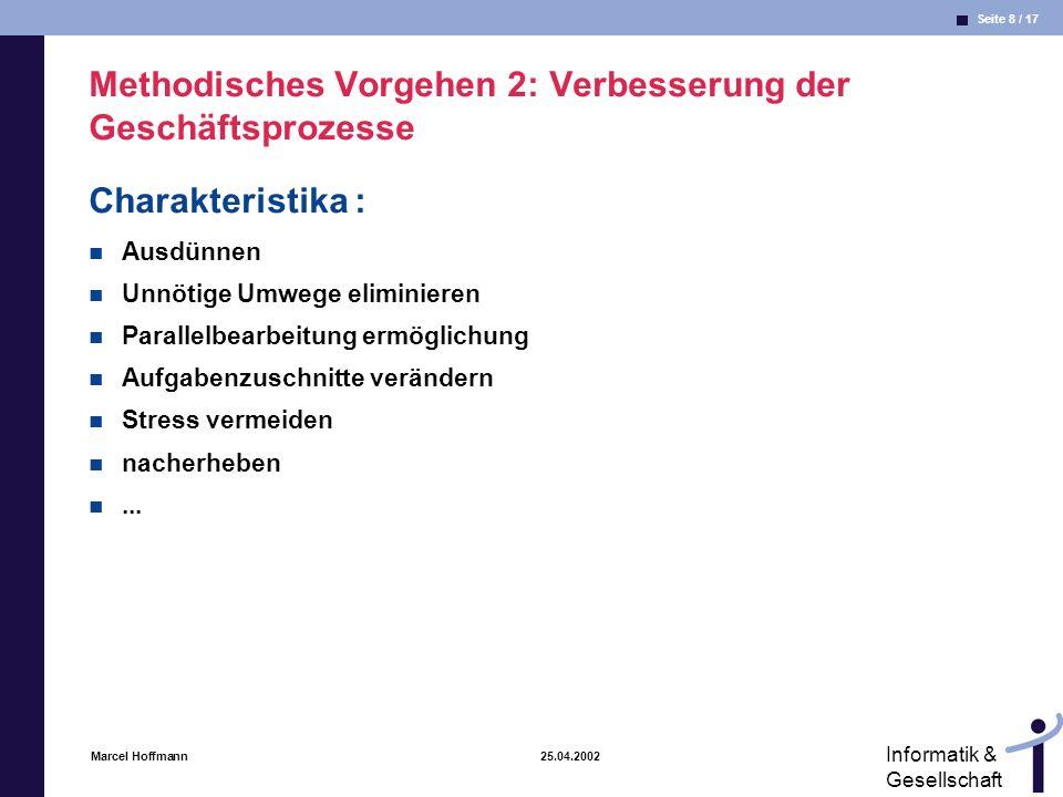Seite 8 / 17 Informatik & Gesellschaft Marcel Hoffmann 25.04.2002 Methodisches Vorgehen 2: Verbesserung der Geschäftsprozesse Charakteristika : Ausdün