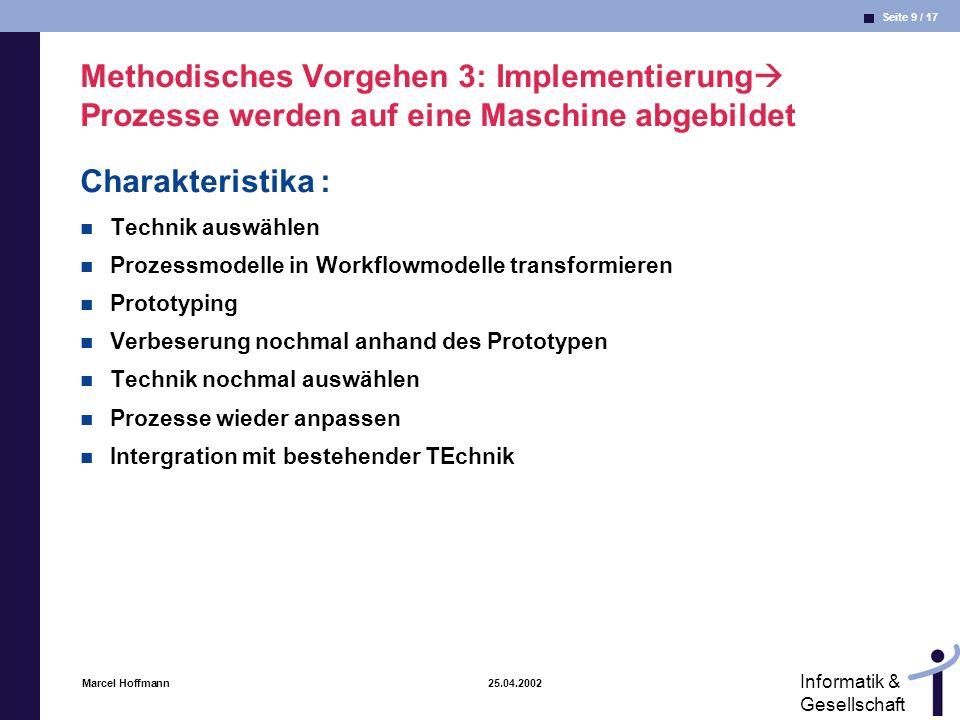 Seite 9 / 17 Informatik & Gesellschaft Marcel Hoffmann 25.04.2002 Methodisches Vorgehen 3: Implementierung Prozesse werden auf eine Maschine abgebilde
