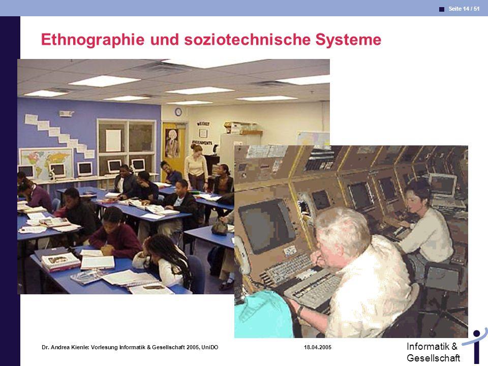 Seite 14 / 51 Informatik & Gesellschaft Dr. Andrea Kienle: Vorlesung Informatik & Gesellschaft 2005, UniDO 18.04.2005 Ethnographie und soziotechnische