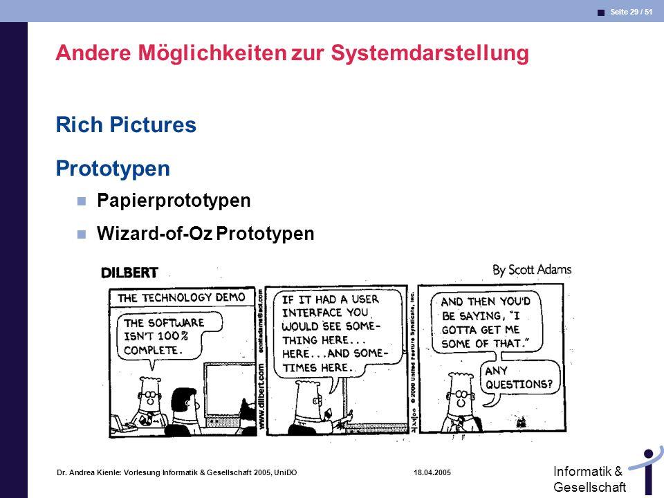 Seite 29 / 51 Informatik & Gesellschaft Dr. Andrea Kienle: Vorlesung Informatik & Gesellschaft 2005, UniDO 18.04.2005 Andere Möglichkeiten zur Systemd