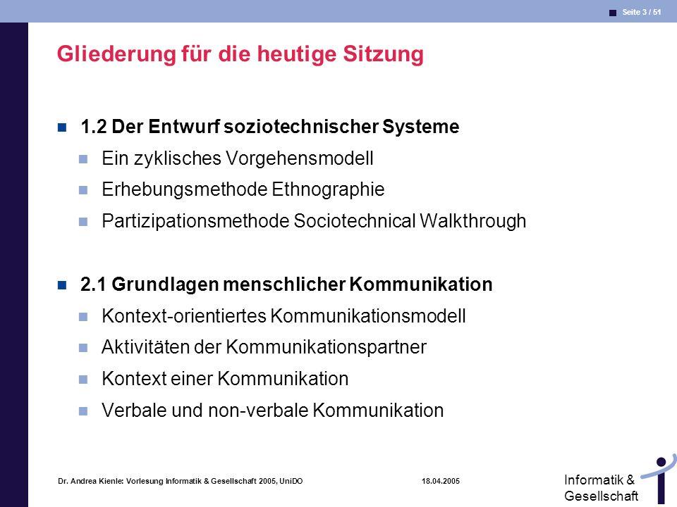 Seite 3 / 51 Informatik & Gesellschaft Dr. Andrea Kienle: Vorlesung Informatik & Gesellschaft 2005, UniDO 18.04.2005 Gliederung für die heutige Sitzun