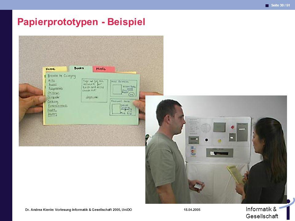 Seite 30 / 51 Informatik & Gesellschaft Dr. Andrea Kienle: Vorlesung Informatik & Gesellschaft 2005, UniDO 18.04.2005 Papierprototypen - Beispiel