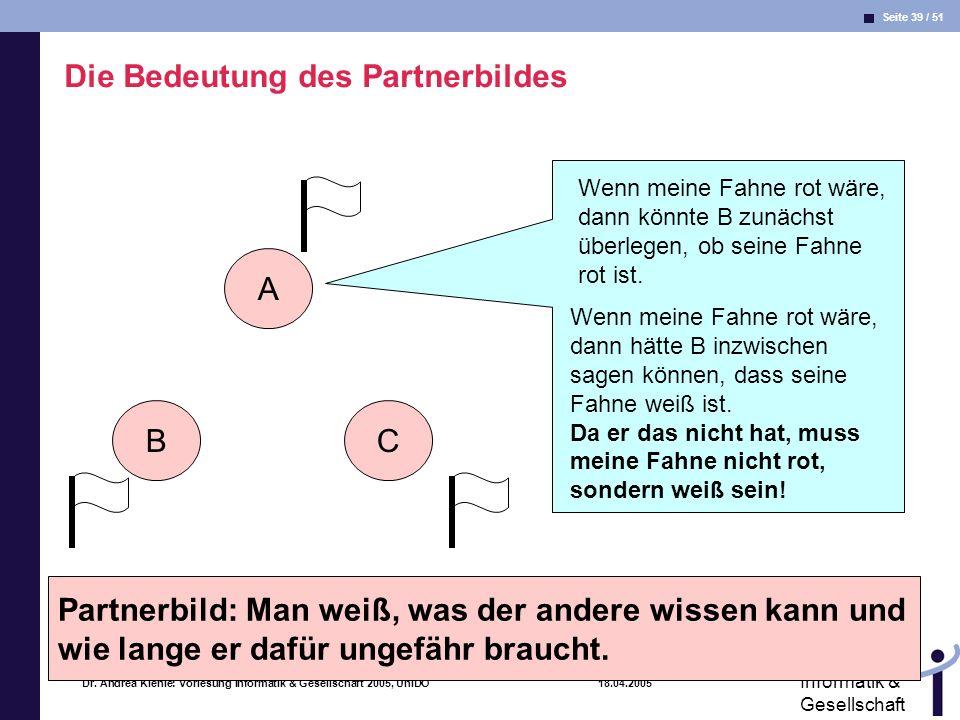 Seite 39 / 51 Informatik & Gesellschaft Dr. Andrea Kienle: Vorlesung Informatik & Gesellschaft 2005, UniDO 18.04.2005 A BC Wenn meine Fahne rot wäre,