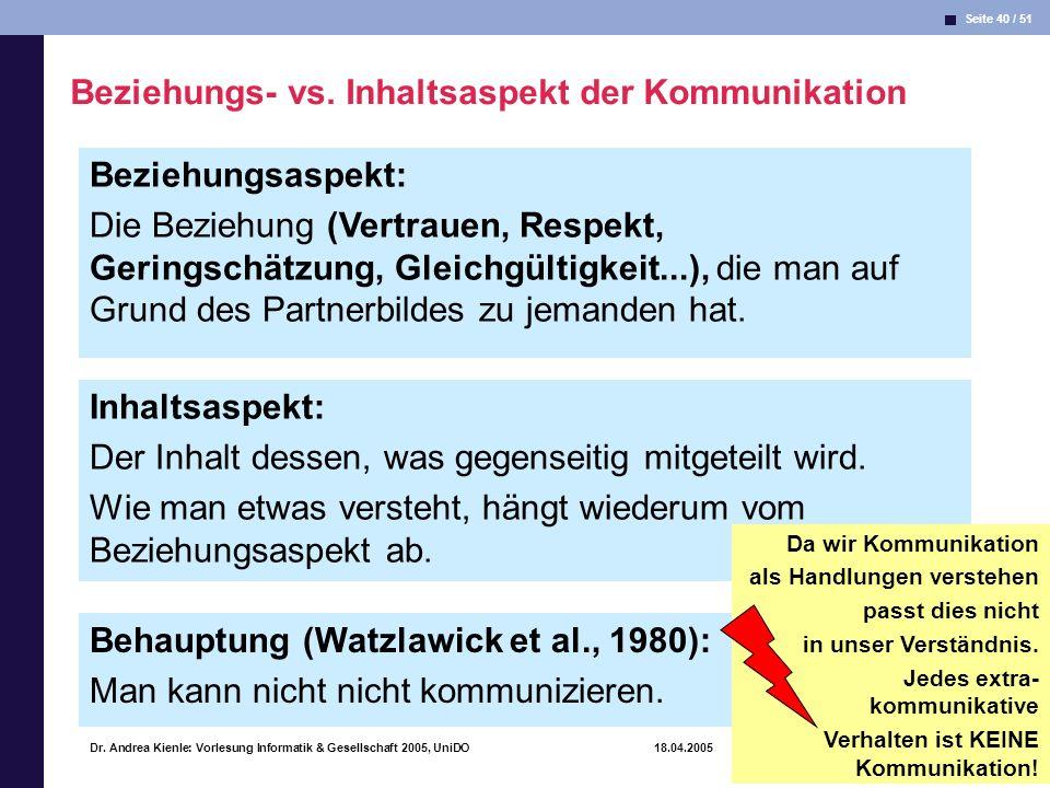 Seite 40 / 51 Informatik & Gesellschaft Dr. Andrea Kienle: Vorlesung Informatik & Gesellschaft 2005, UniDO 18.04.2005 Beziehungsaspekt: Die Beziehung