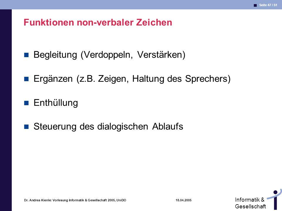 Seite 47 / 51 Informatik & Gesellschaft Dr. Andrea Kienle: Vorlesung Informatik & Gesellschaft 2005, UniDO 18.04.2005 Funktionen non-verbaler Zeichen