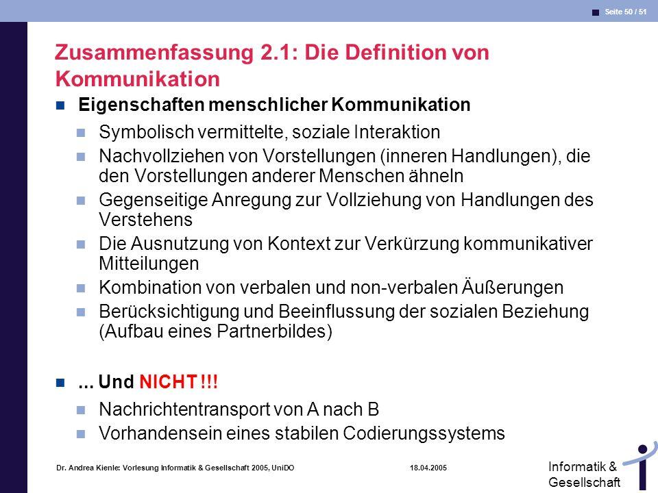 Seite 50 / 51 Informatik & Gesellschaft Dr. Andrea Kienle: Vorlesung Informatik & Gesellschaft 2005, UniDO 18.04.2005 Zusammenfassung 2.1: Die Definit