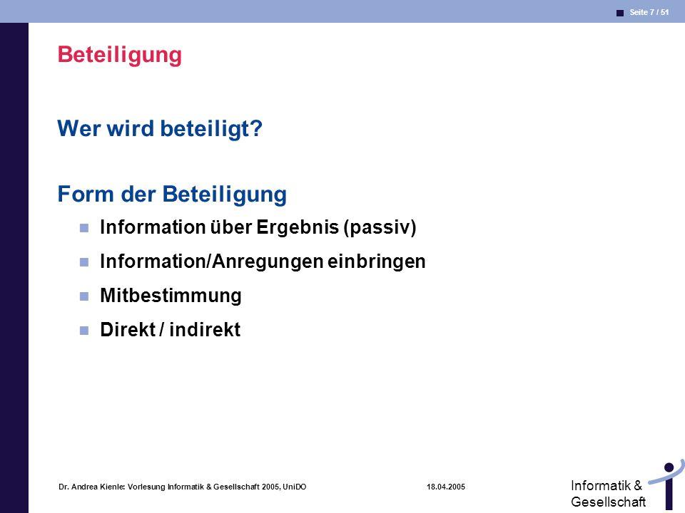 Seite 7 / 51 Informatik & Gesellschaft Dr. Andrea Kienle: Vorlesung Informatik & Gesellschaft 2005, UniDO 18.04.2005 Beteiligung Wer wird beteiligt? F