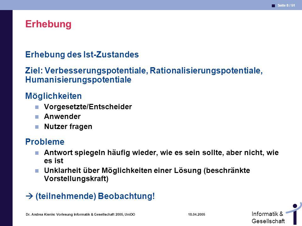 Seite 8 / 51 Informatik & Gesellschaft Dr. Andrea Kienle: Vorlesung Informatik & Gesellschaft 2005, UniDO 18.04.2005 Erhebung Erhebung des Ist-Zustand