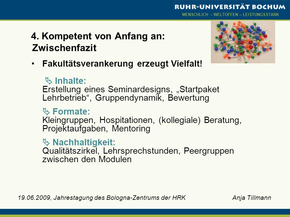 MENSCHLICH – WELTOFFEN – LEISTUNGSSTARK 19.06.2009, Jahrestagung des Bologna-Zentrums der HRK Anja Tillmann 4. Kompetent von Anfang an: Zwischenfazit