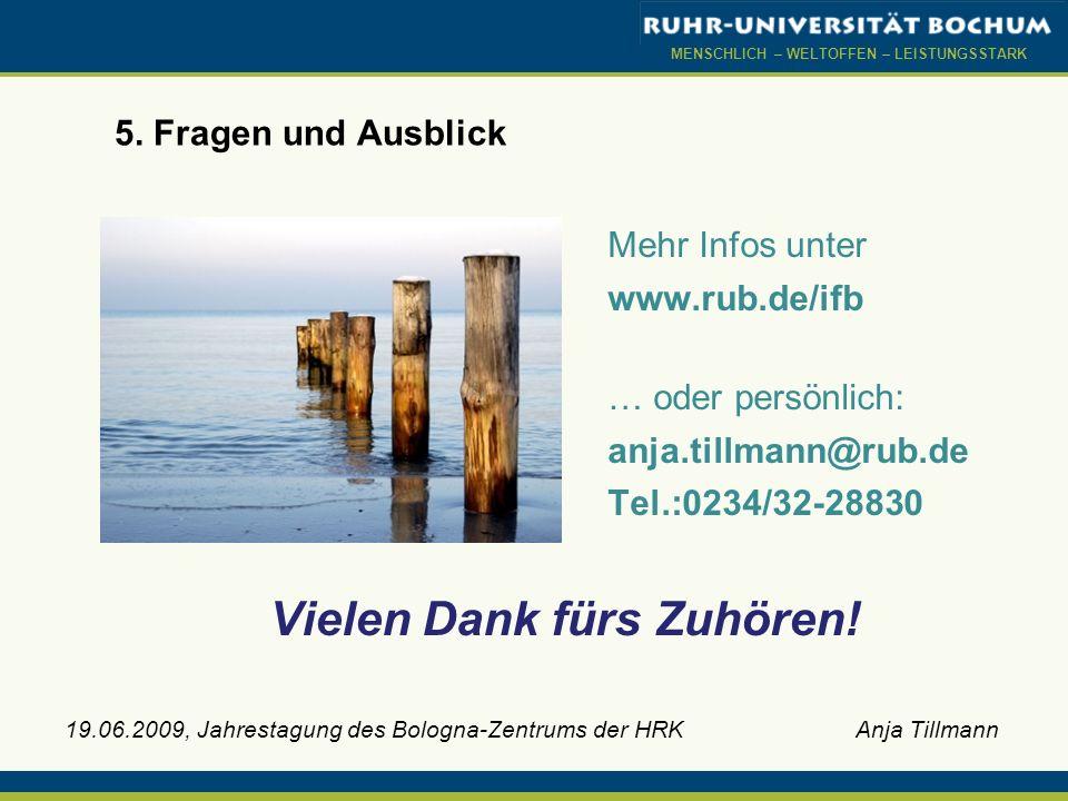 MENSCHLICH – WELTOFFEN – LEISTUNGSSTARK 19.06.2009, Jahrestagung des Bologna-Zentrums der HRK Anja Tillmann 5. Fragen und Ausblick Vielen Dank fürs Zu