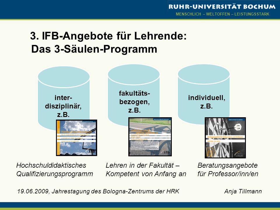 MENSCHLICH – WELTOFFEN – LEISTUNGSSTARK 19.06.2009, Jahrestagung des Bologna-Zentrums der HRK Anja Tillmann 3. IFB-Angebote für Lehrende: Das 3-Säulen
