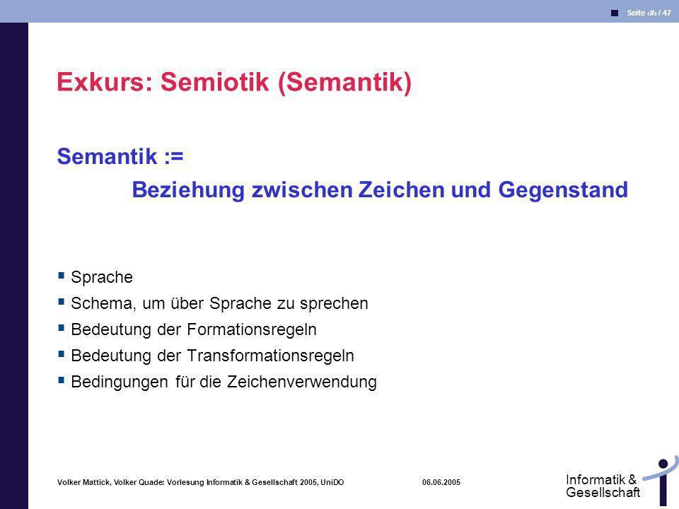 Volker Mattick, Volker Quade: Vorlesung Informatik & Gesellschaft 2005, UniDO 06.06.2005 Seite 13 / 47 Informatik & Gesellschaft Semantik := Beziehung
