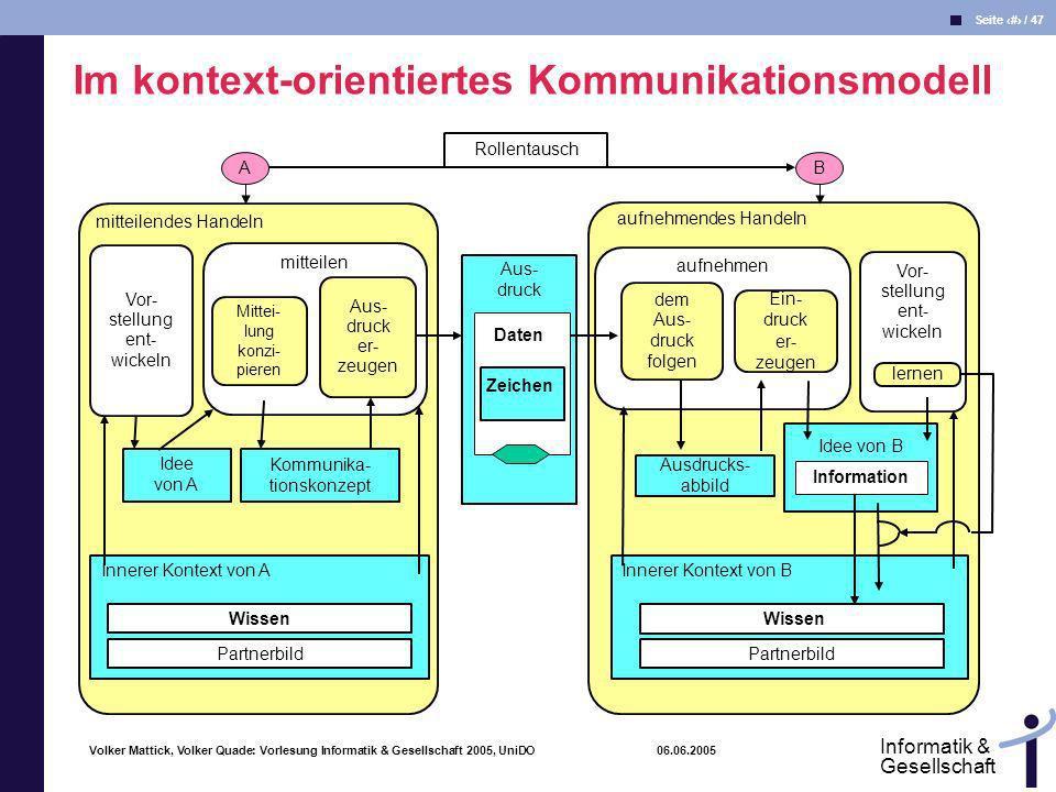 Volker Mattick, Volker Quade: Vorlesung Informatik & Gesellschaft 2005, UniDO 06.06.2005 Seite 18 / 47 Informatik & Gesellschaft B aufnehmendes Handel