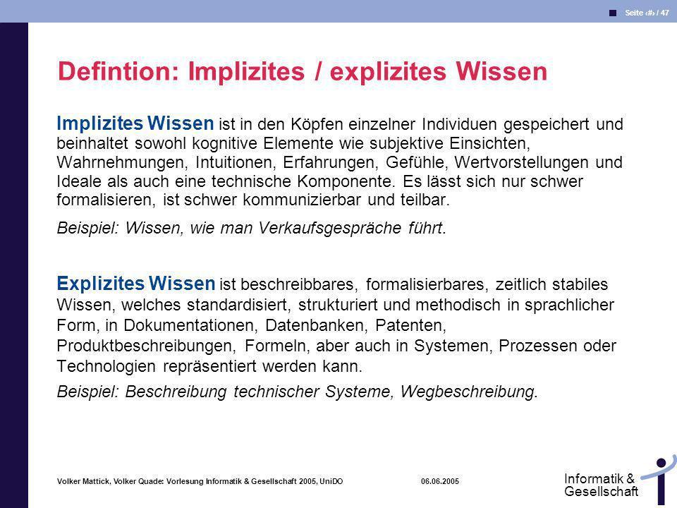 Volker Mattick, Volker Quade: Vorlesung Informatik & Gesellschaft 2005, UniDO 06.06.2005 Seite 21 / 47 Informatik & Gesellschaft Implizites Wissen ist