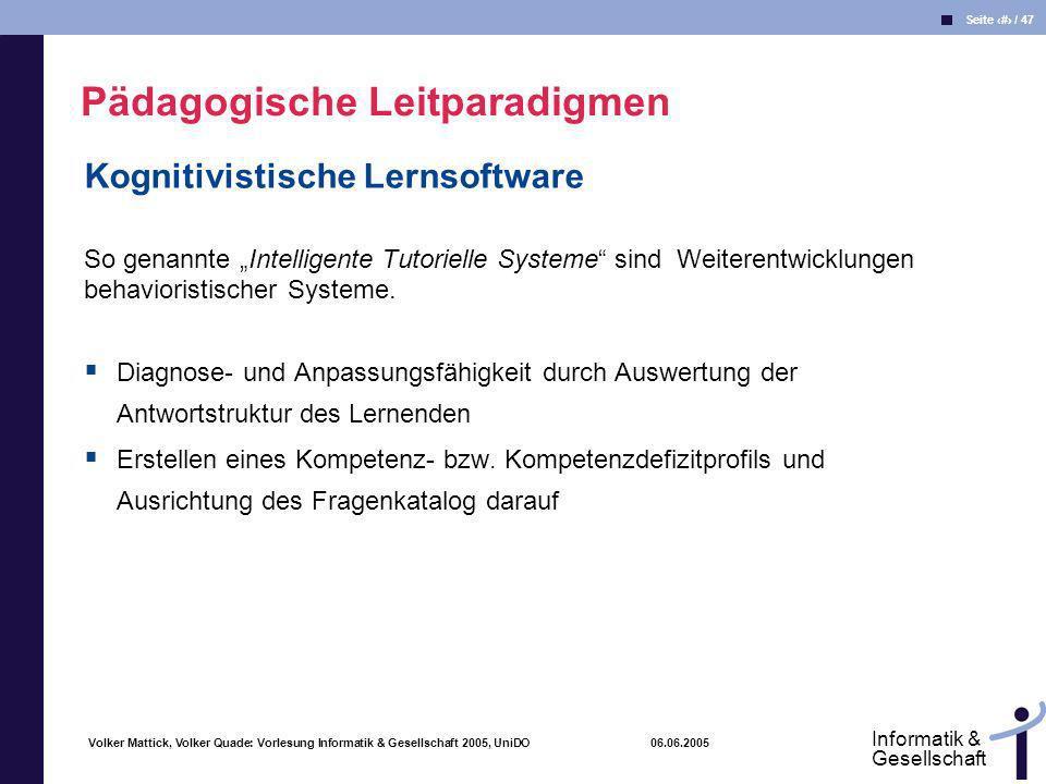 Volker Mattick, Volker Quade: Vorlesung Informatik & Gesellschaft 2005, UniDO 06.06.2005 Seite 38 / 47 Informatik & Gesellschaft Kognitivistische Lern