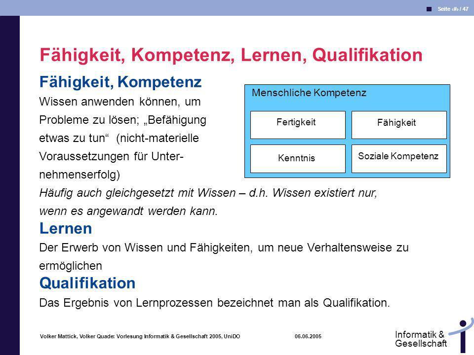 Volker Mattick, Volker Quade: Vorlesung Informatik & Gesellschaft 2005, UniDO 06.06.2005 Seite 41 / 47 Informatik & Gesellschaft Fähigkeit, Kompetenz,