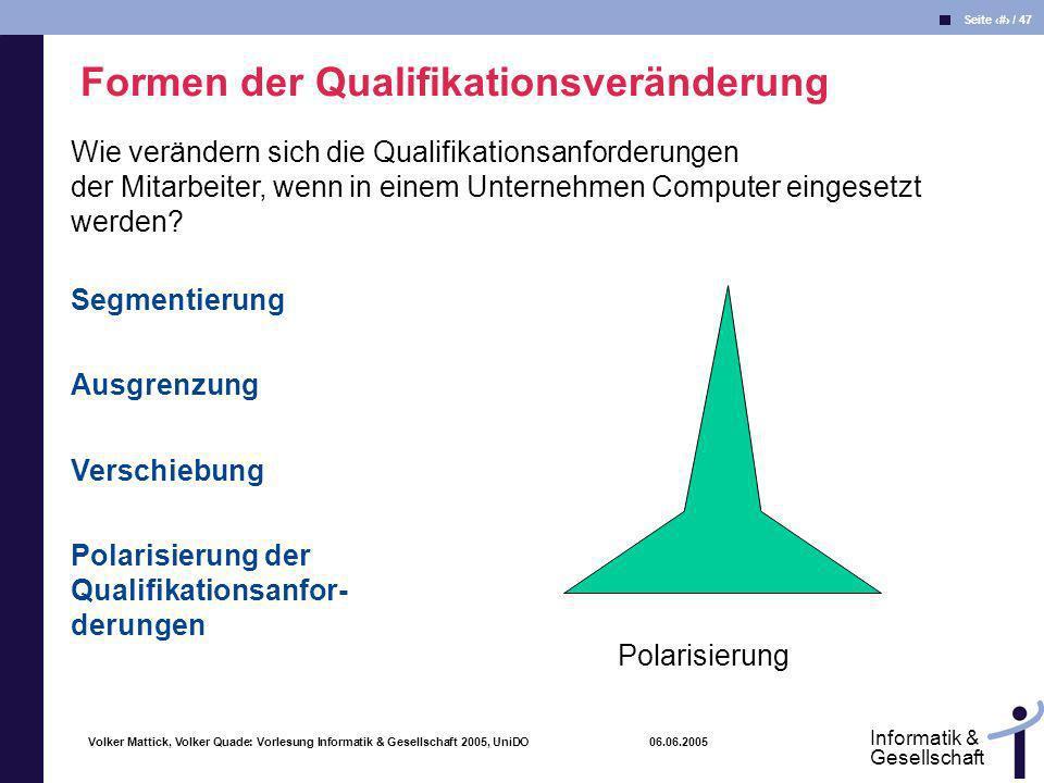 Volker Mattick, Volker Quade: Vorlesung Informatik & Gesellschaft 2005, UniDO 06.06.2005 Seite 43 / 47 Informatik & Gesellschaft Formen der Qualifikat
