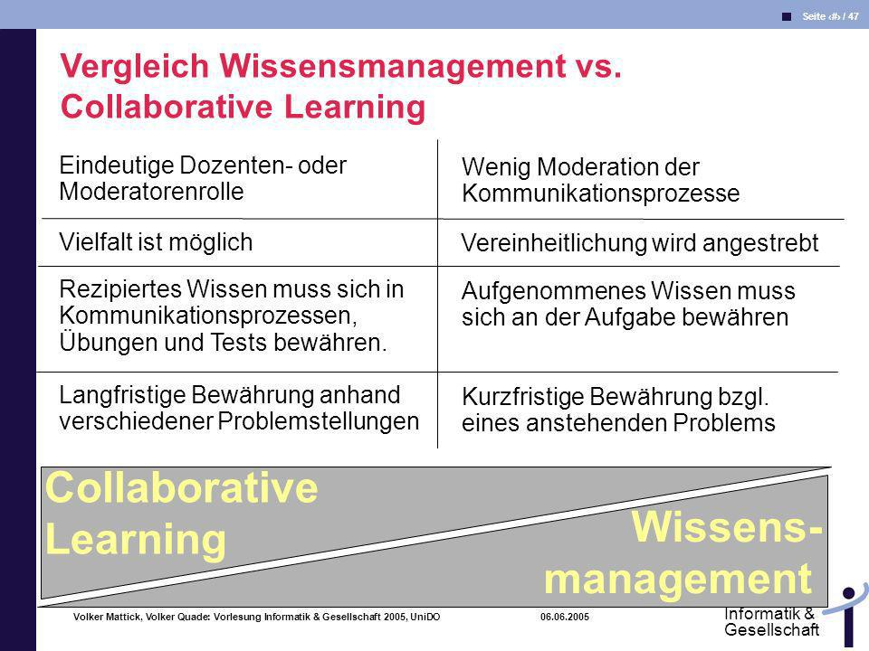 Volker Mattick, Volker Quade: Vorlesung Informatik & Gesellschaft 2005, UniDO 06.06.2005 Seite 46 / 47 Informatik & Gesellschaft Collaborative Learnin
