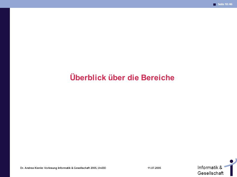 Seite 10 /46 Informatik & Gesellschaft Dr. Andrea Kienle: Vorlesung Informatik & Gesellschaft 2005, UniDO 11.07.2005 Überblick über die Bereiche