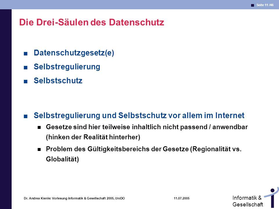 Seite 11 /46 Informatik & Gesellschaft Dr. Andrea Kienle: Vorlesung Informatik & Gesellschaft 2005, UniDO 11.07.2005 Die Drei-Säulen des Datenschutz D