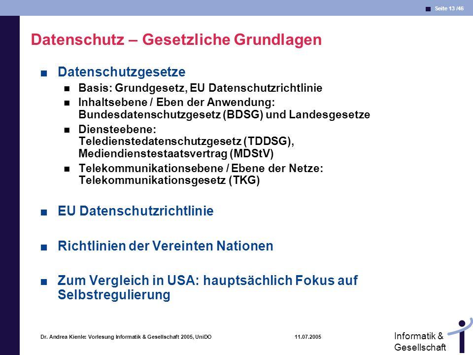 Seite 13 /46 Informatik & Gesellschaft Dr. Andrea Kienle: Vorlesung Informatik & Gesellschaft 2005, UniDO 11.07.2005 Datenschutz – Gesetzliche Grundla