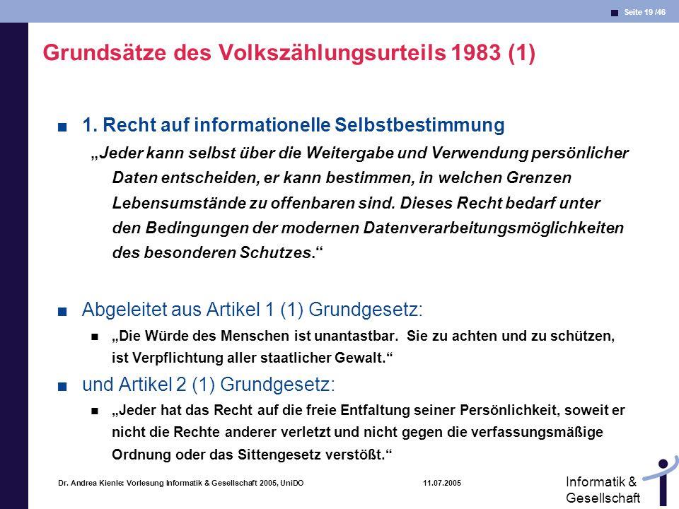 Seite 19 /46 Informatik & Gesellschaft Dr. Andrea Kienle: Vorlesung Informatik & Gesellschaft 2005, UniDO 11.07.2005 Grundsätze des Volkszählungsurtei
