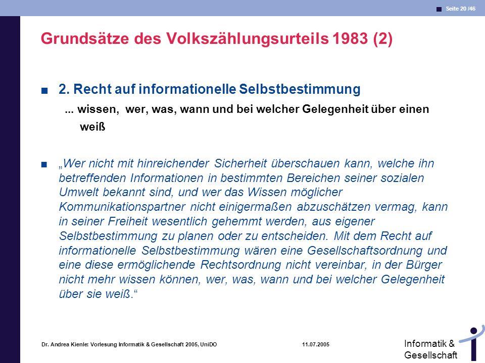 Seite 20 /46 Informatik & Gesellschaft Dr. Andrea Kienle: Vorlesung Informatik & Gesellschaft 2005, UniDO 11.07.2005 Grundsätze des Volkszählungsurtei