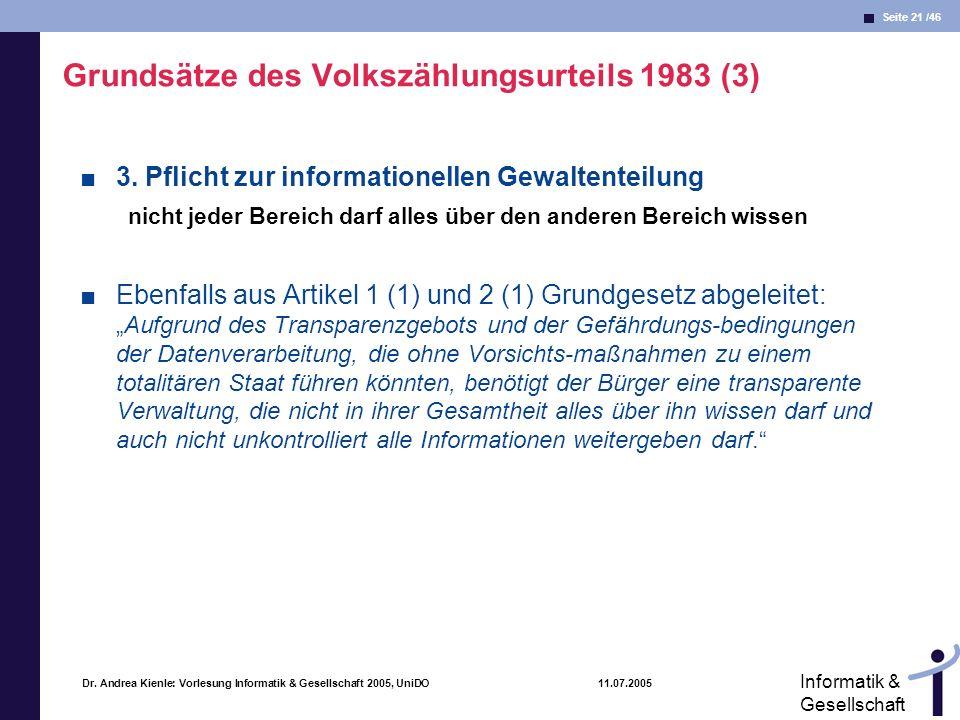 Seite 21 /46 Informatik & Gesellschaft Dr. Andrea Kienle: Vorlesung Informatik & Gesellschaft 2005, UniDO 11.07.2005 Grundsätze des Volkszählungsurtei