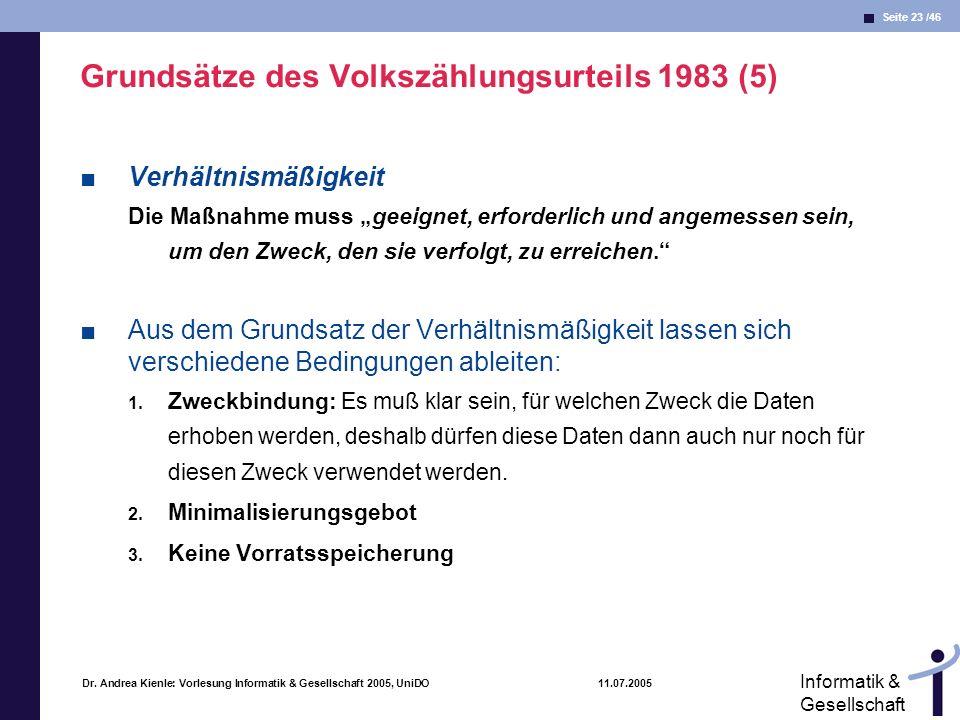 Seite 23 /46 Informatik & Gesellschaft Dr. Andrea Kienle: Vorlesung Informatik & Gesellschaft 2005, UniDO 11.07.2005 Grundsätze des Volkszählungsurtei